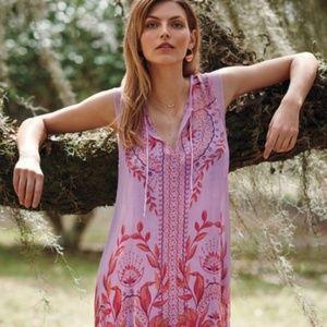 Anthropologie Floreat Wisteria Silk Dress